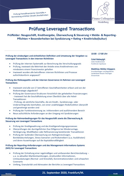 Pruefung Leveraged Transactions