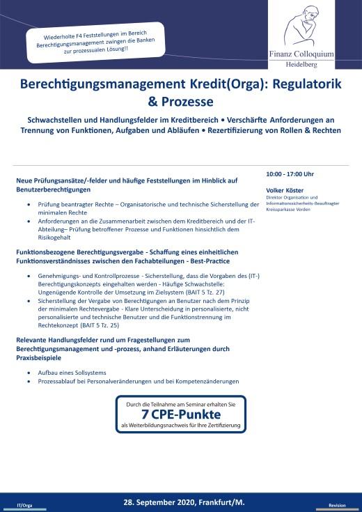Berechtigungsmanagement KreditOrga Regulatorik Prozesse