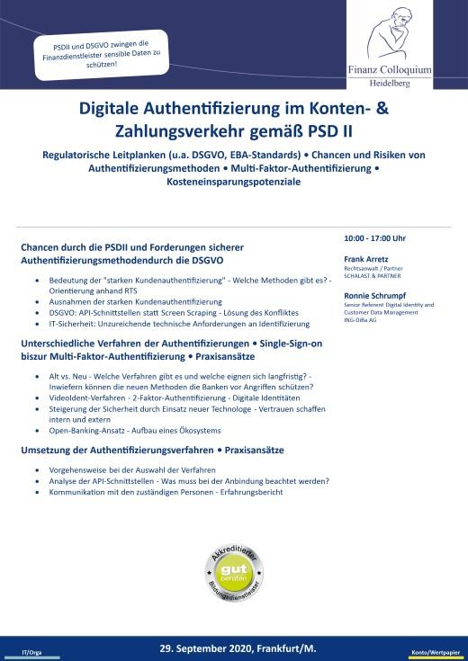 Digitale Authentifizierung im Konten Zahlungsverkehr gemae PSD II