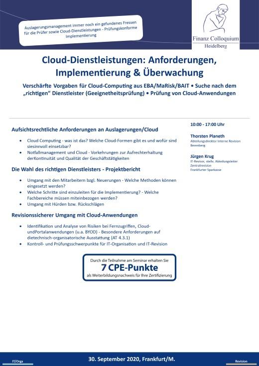 CloudDienstleistungen Anforderungen Implementierung Ueberwachung