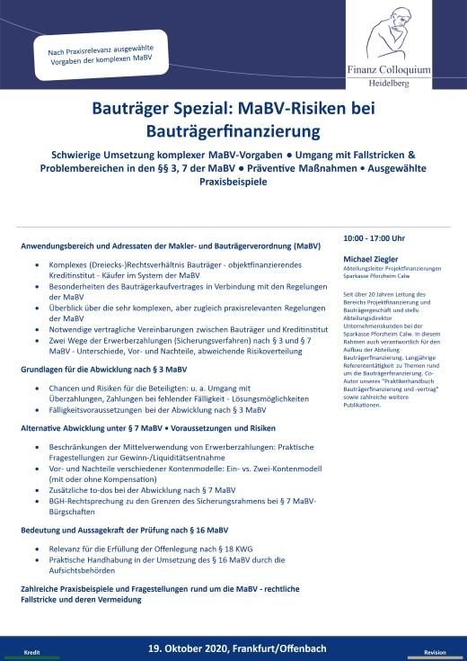 Bautraeger Spezial MaBVRisiken bei Bautraegerfinanzierung