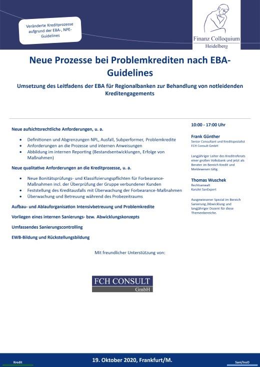 Neue Prozesse bei Problemkrediten nach EBAGuidelines