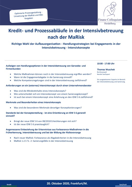 Kredit und Prozessablaeufe in der Intensivbetreuung nach der MaRisk