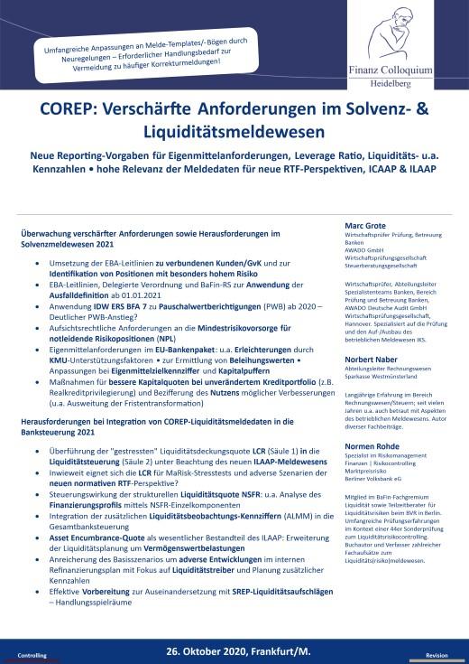 COREP Verschaerfte Anforderungen im Solvenz Liquiditaetsmeldewesen