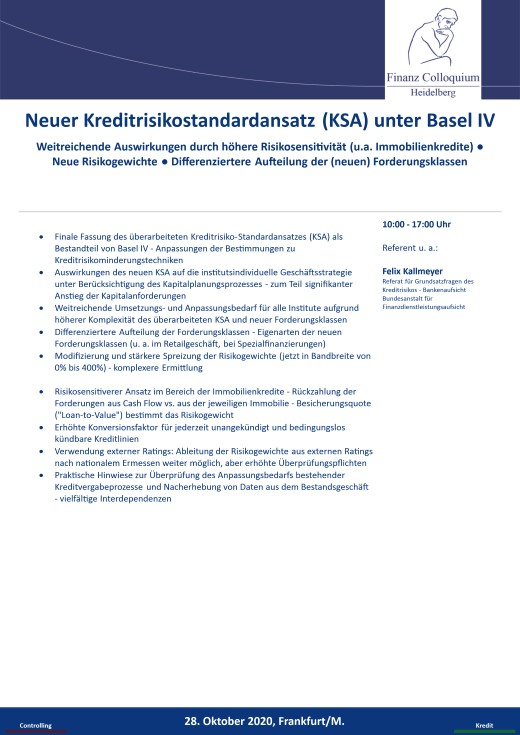 Neuer Kreditrisikostandardansatz KSA unter Basel IV