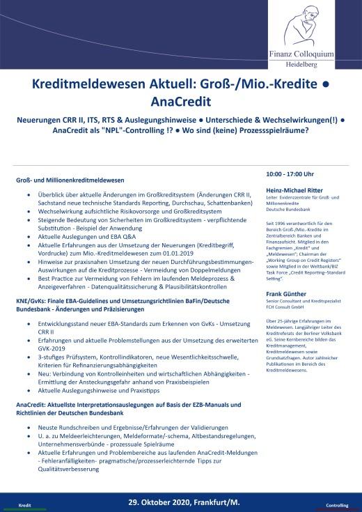 Kreditmeldewesen Aktuell GroMioKredite AnaCredit