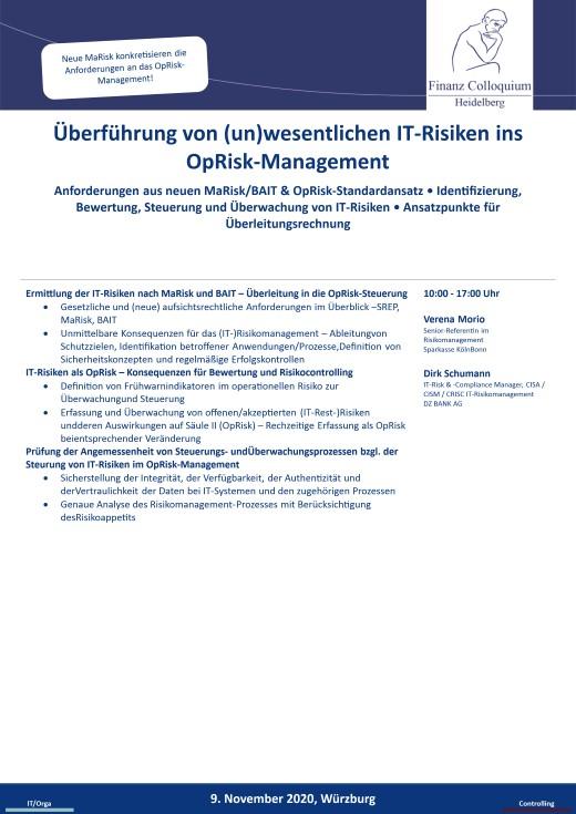 Ueberfuehrung von unwesentlichen ITRisiken ins OpRiskManagement