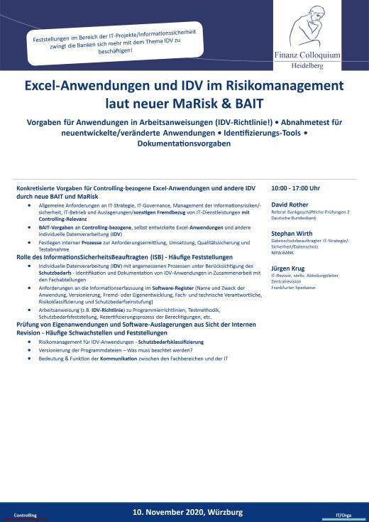 ExcelAnwendungen und IDV im Risikomanagement laut neuer MaRisk BAIT