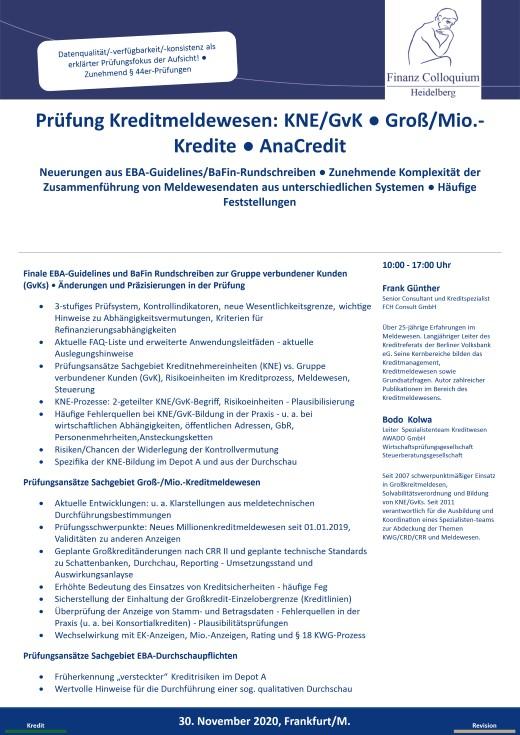 Pruefung Kreditmeldewesen KNEGvK GroMioKredite AnaCredit