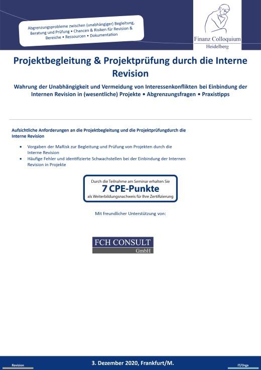 Projektbegleitung Projektpruefung durch die Interne Revision