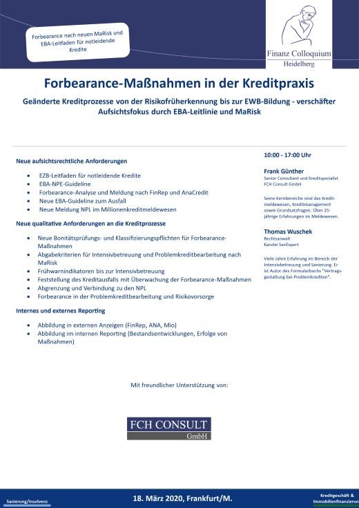 ForbearanceManahmen in der Kreditpraxis