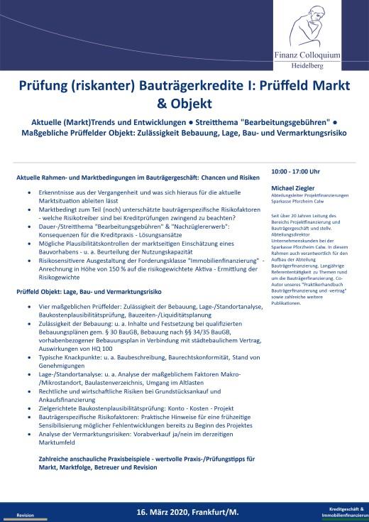 Pruefung riskanter Bautraegerkredite I Prueffeld Markt Objekt