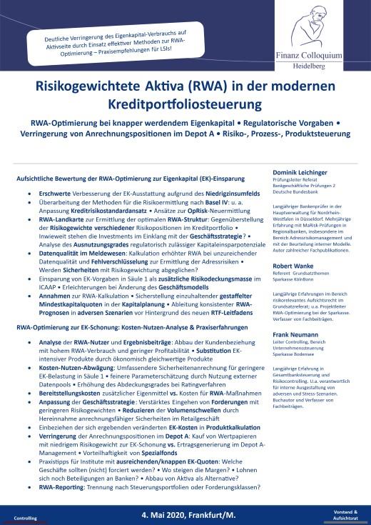 Risikogewichtete Aktiva RWA in der modernen Kreditportfoliosteuerung