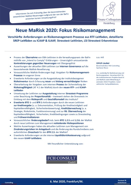 Neue MaRisk 2020 Fokus Risikomanagement