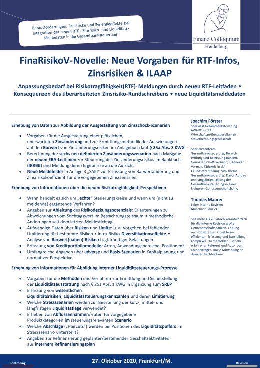 FinaRisikoVNovelle Neue Vorgaben fuer RTFInfos Zinsrisiken ILAAP