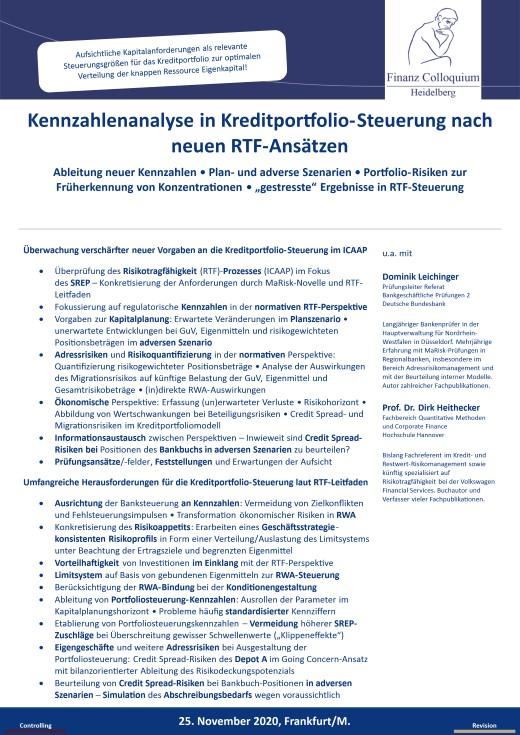 Kennzahlenanalyse in KreditportfolioSteuerung nach neuen RTFAnsaetzen