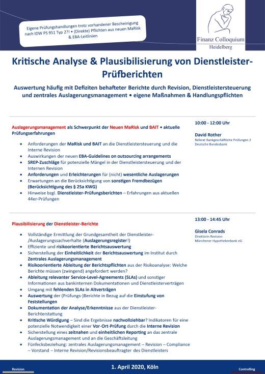 Kritische Analyse Plausibilisierung von DienstleisterPruefberichten