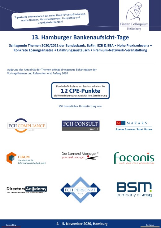 13 Hamburger BankenaufsichtTage