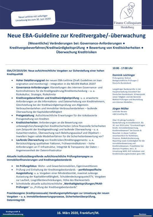 Neue EBAGuideline zur Kreditvergabeueberwachung