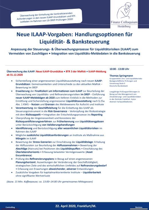 Neue ILAAPVorgaben Handlungsoptionen fuer Liquiditaet Banksteuerung