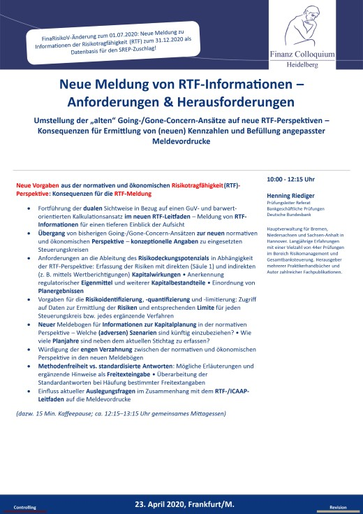 Neue Meldung von RTFInformationen Anforderungen Herausforderungen