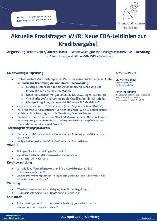 Aktuelle Praxisfragen WKR Neue EBALeitlinien zur Kreditvergabe