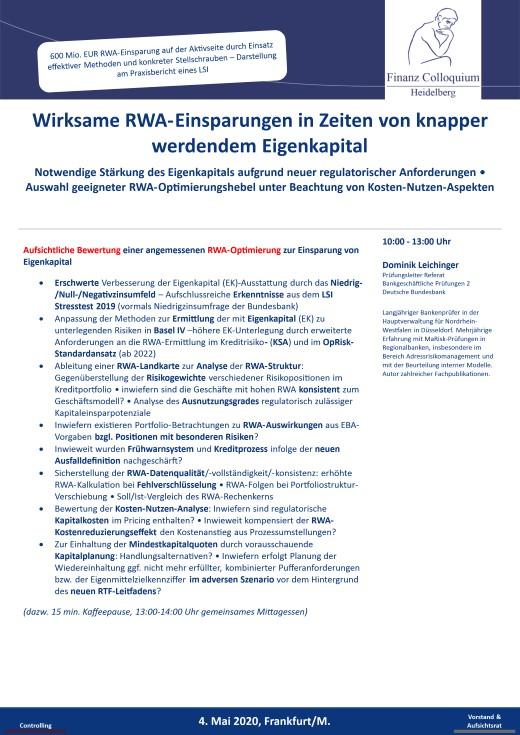 Wirksame RWAEinsparungen in Zeiten von knapper werdendem Eigenkapital