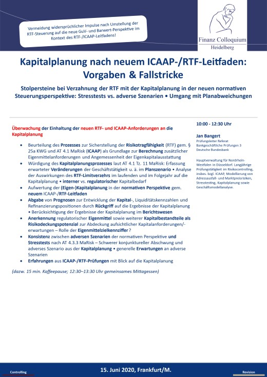 Kapitalplanung nach neuem ICAAPRTFLeitfaden Vorgaben Fallstricke