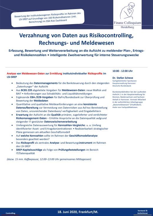 Verzahnung von Daten aus Risikocontrolling Rechnungs und Meldewesen