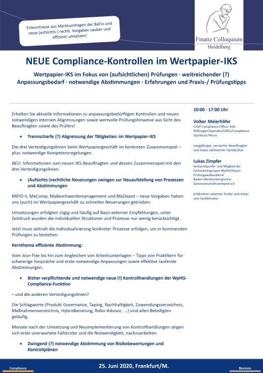 NEUE ComplianceKontrollen im WertpapierIKS